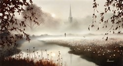 Reflections  by John Waterhouse - Oil sized 22x12 inches. Available from Whitewall Galleries